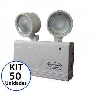 Kit 50 Luminária de Emergência LED 200 Lúmens | 2 Faróis R$ 6.019,90  R$ 4.545,00