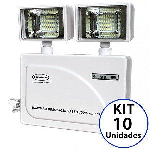 Kit 10 Luminária de Emergência LED 3.000 Lúmens | 2 Faróis