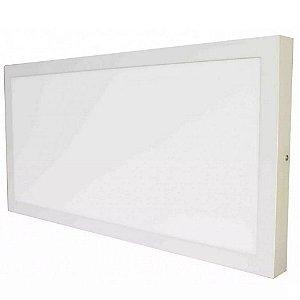 Luminária Plafon 30x60 36W LED Sobrepor Branco Quente 3000K Borda Branca
