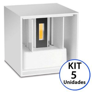 Kit 5 Luminária Arandela LED 12W Branco Quente 3000K Cubo