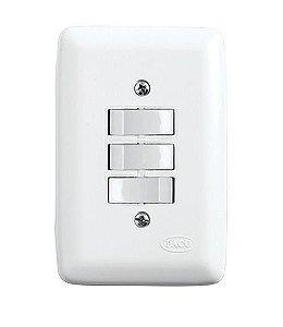 Conjunto 2 Interruptores Simples + 1 Interruptor Paralelo de Embutir 10A Branco