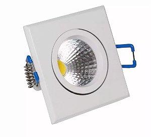 Spot LED COB 3W Quadrado Embutir Direcionável Branco Quente 3000K