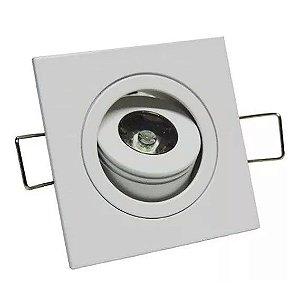 Spot LED COB 1W Quadrado Embutir Direcionável Branco Quente 3000K