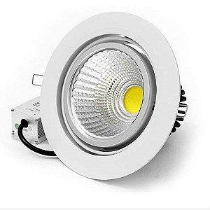 Spot LED COB 7W Embutir Redondo Direcionável Branco Quente 3000K