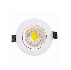 Spot LED COB 3W Embutir Redondo Direcionável Branco Frio 6000k