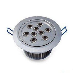 Spot Dicróica 9w LED Redondo Direcionável Corpo Aluminio Branco Frio 6000k