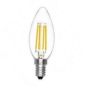 Lâmpada LED Vela 4W Cristal Branco Quente 3000K Filamento