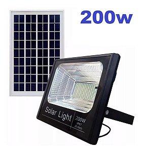 Refletor Holofote Led Solar 200w Real Ultra Placa Completo