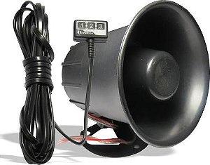 Buzina Sirene Para Blindado e Veículos Especiais 3 Botões - 6 toques -