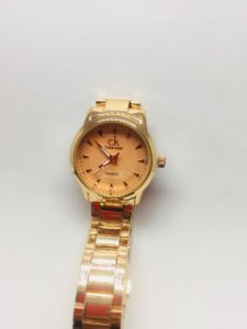 Relógio Feminino Ck Dourado Luxo Analógico Rose Preto
