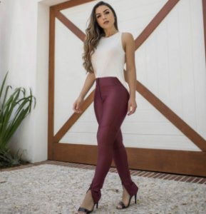 Calça Prada Skinny Zíper Frontal Marsala