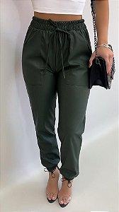 Calça Jogger Linho Verde Militar