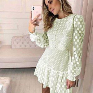 Vestido Lore Poá Verde