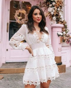 Vestido Lika Poá Branco