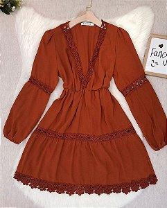 Vestido Lika Liso Caramelo