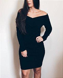 Vestido Ombro Manga Longa Preto