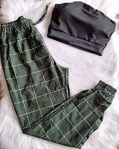 Calça Jogger Quadriculada Verde Militar