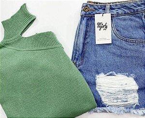 BOX - Shorts Mom + Tricot Choker Verde