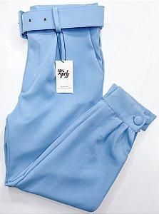 Calça Jogger Alfaiataria Cinto Azul