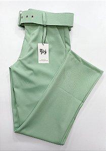 Calça Alfaiataria Cinto Verde Menta