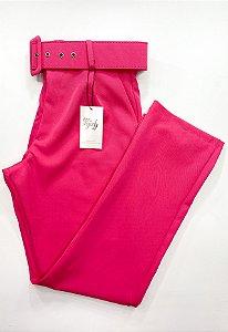 Calça Alfaiataria Cinto Rosa Pink