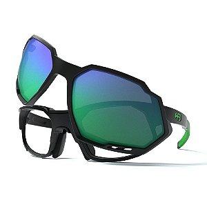 Óculos Clip On HB Rush Matte Black D. Green / Green Chrome