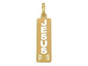 Pingente Ouro 18K Placa Retangular Com Gravação Jesus
