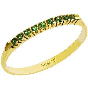 Meia Aliança Ouro 18k Pedras Zircônia Verde