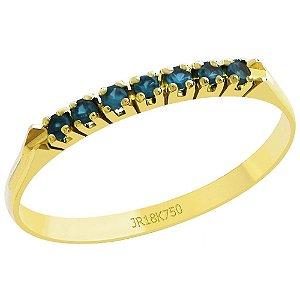 Meia Aliança Ouro 18K Pedras Zircônia Azul