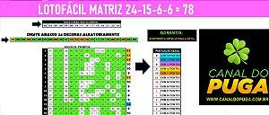 Planilha Lotofacil - Esquema com 24 Dezenas Sem Fixas