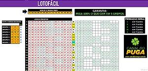 Planilha Lotofacil - 21 Dezenas Fechando 15 Pontos em Grupos