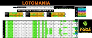 Planilha Lotomania - 90 Dezenas Fechando 20 Pontos em Grupos