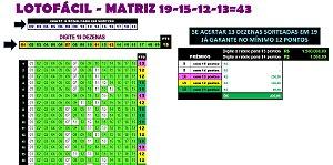 Planilha Lotofacil - 19 Dezenas Combinadas em 43 Jogos