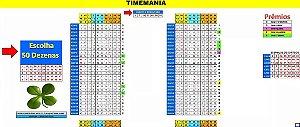 Planilha Timemania - Esquema Com 50 Dezenas Cruzadas