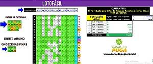 Planilha Lotofacil - 25 Dezenas com 6 Fixas e Redução
