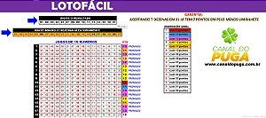 Planilha Lotofacil - 21 Dezenas com Fechamento Reduzido pra 16