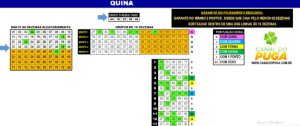 Planilha Quina - Jogue com 5 Grupos de 16 Dezenas
