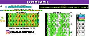 Planilha Lotofacil - Jogue com 10 Grupos de 19 Dezenas