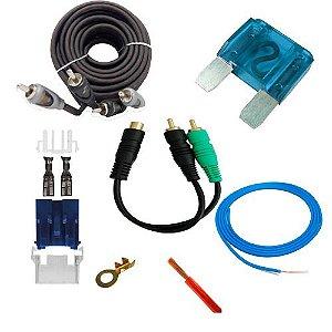 kit instalação de som automotivo com cabo alimentação 4 mm