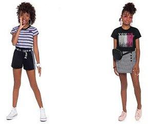 ◼ Kit Brandili Juvenil - Composto por: 30 Peças, Grade: 12 ao 18, Sendo: Avulsas (Camisetas, Blusas, Shorts e Bermudas) Podendo conter Conjuntos e Vestidos. IMAGENS ILUSTRATIVAS