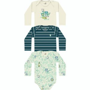 ◼ Kit Kiko Baby - Composto por: 30 peças, Grade: RN ao G, Sendo: Body´s. IMAGENS ILUSTRATIVAS
