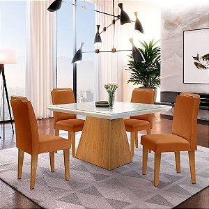 Mesa de Jantar Luna Imbuia 120x80 + 4 Cadeiras Athenas Cobre