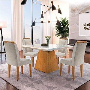 Mesa de Jantar Luna Imbuia 90x90 + 4 Cadeiras Athenas Veludo Esmeralda