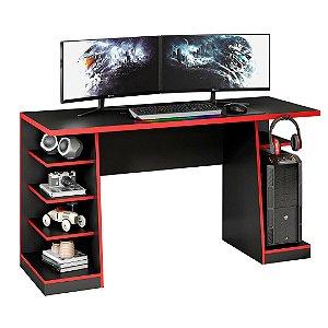 Mesa Gamer XP Preto com Vermelho NT2020 com Gancho para HeadSet
