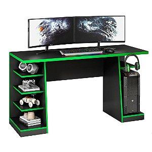 Mesa Gamer XP Preto com Verde NT2020 com Gancho para HeadSet