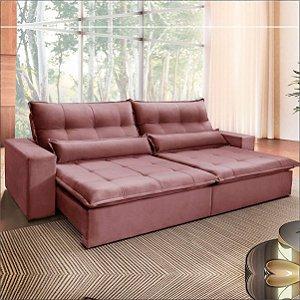 Sofá Austin 2,50m Retrátil, Reclinável com Molas Pocket no Assento e Almofadas, Tecido Veludo Rosê