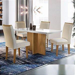 Conjunto Sala de jantar Berlim 1,20m com 4 Cadeiras Lunara Imbuia/Off White/Turim 07