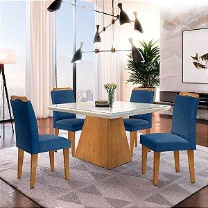 Mesa de Jantar Luna Imbuia 120x80 + 4 Cadeiras Athenas Veludo Azul