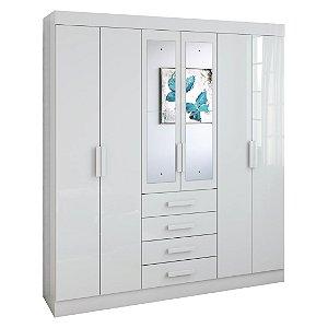 Guarda Roupa Casal com Espelho 6 Portas Celebrare Branco