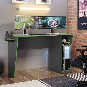 Mesa Gamer com porta copos Cyber Grafite/Verde Jcm Movelaria
